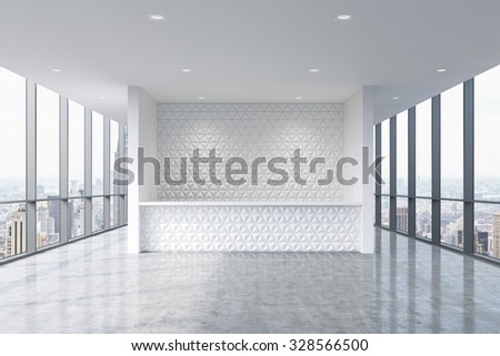 A reception area in a modern bright clean office interior. Huge panoramic windows with New York view. A concept of boutique consulting services. 3D rendering. - stock photo