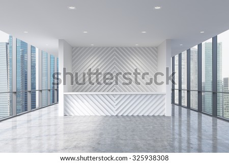 A reception area in a modern bright clean office interior. Huge panoramic windows with Singapore city view. A concept of boutique consulting services. 3D rendering. - stock photo
