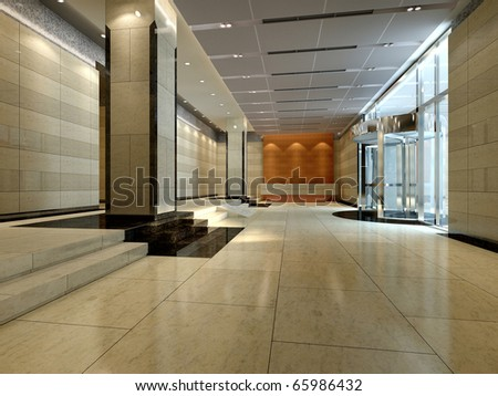 A reception room. render - stock photo