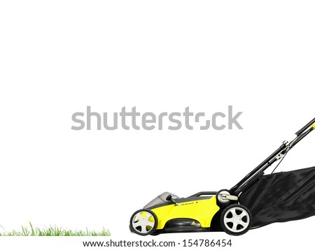 A rechargable lawn mower on a white background