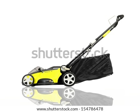 A rechargable lawn mower on a white background - stock photo