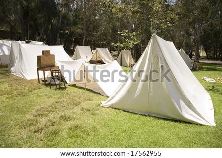 A recreation of an American Civil War era military encampment or bivouac - stock photo