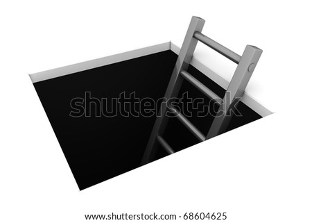 a rectangle hole in the white ground - metallic grey ladder to climb out