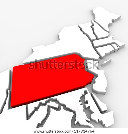 A red abstract state map of Pennsylvania, a 3D render symbolizing targeting the state to find its outlines and borders - stock photo