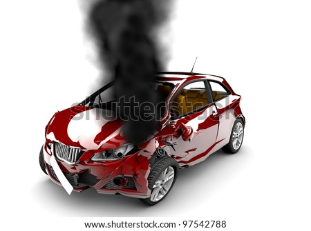 A red accident car is burned on a white background - stock photo