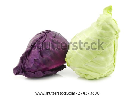 a red and a green pointed cabbage on a white background - stock photo