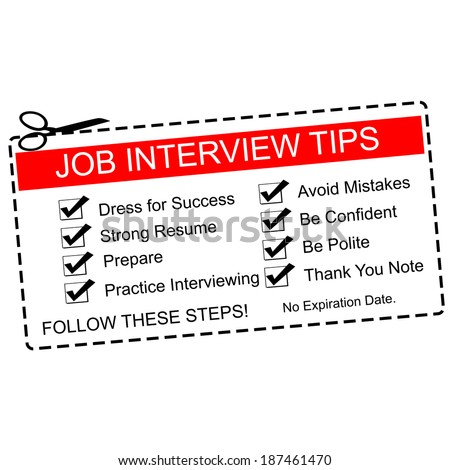 A red and white Job Interview Tips Coupon with great terms such as dress for success, prepare and more.