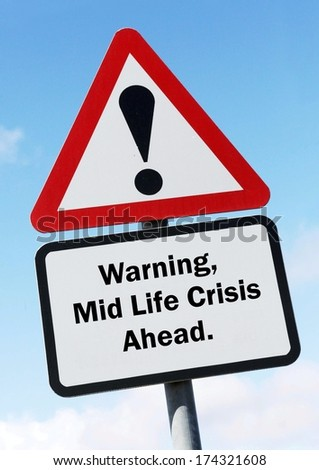 A red and white road sign depicting a warning about a possible mid life crisis ahead. - stock photo