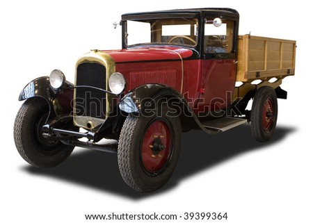 A Red Antique Truck Isolated on White - stock photo