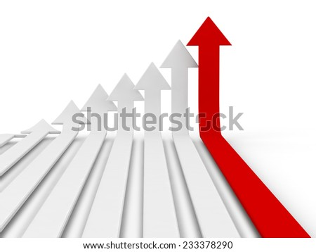 A red arrow sign placed observably in a pile of white arrow signs. - stock photo