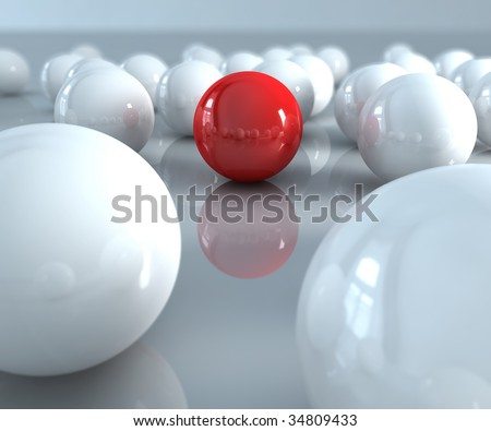 A red ball in many white balls