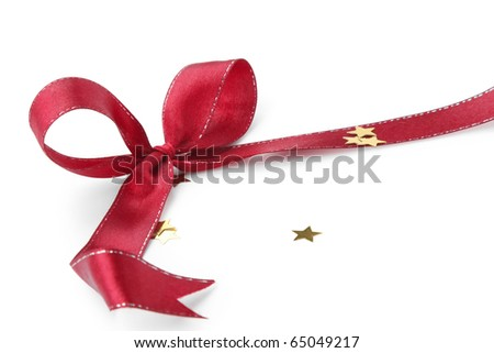 A red bow isolated on a white background