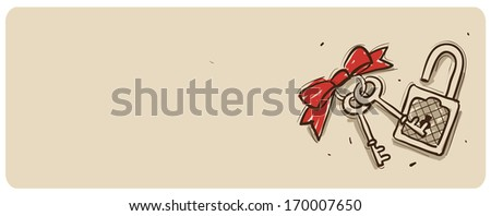 A red bow with two keys and a lock. - stock photo