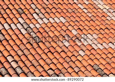a red brick roof as a texture or background