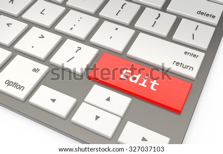 A Red button Edit on keyboard 3d rendering
