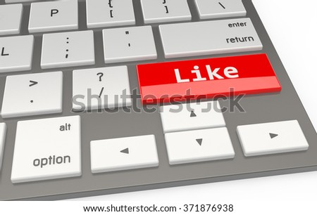 A Red button Like on keyboard 3d rendering - stock photo