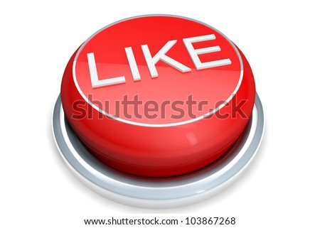 A red button with the Like word on a white background - stock photo