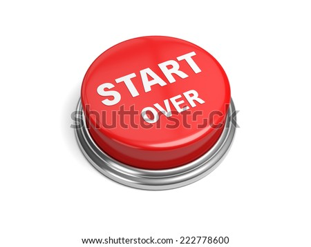 A red button with the word start over on it - stock photo
