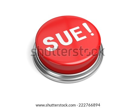 A red button with the word sue on it