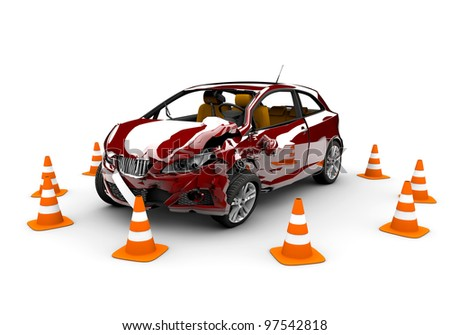 A red  car in an accident with many traffic cone around - stock photo
