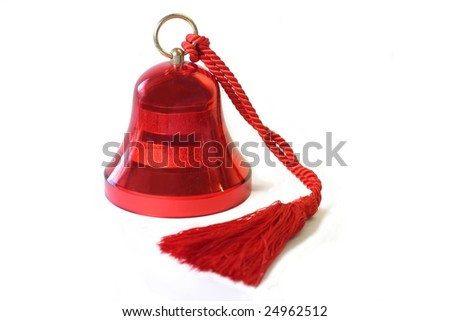 A red christmas bell isolated on white. - stock photo