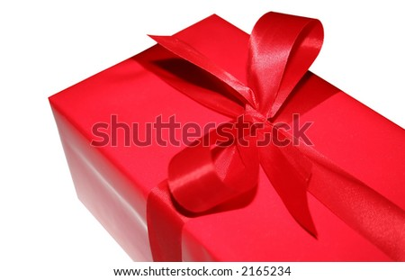 A red Christmas gift isolated on a white background. - stock photo