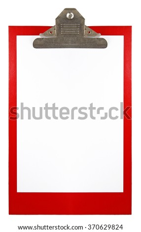 A red clipboard with blank paper.  - stock photo