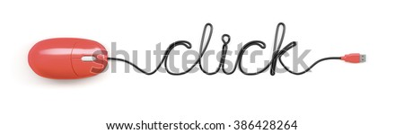 A red computer mouse and the word click formed by the cable - stock photo