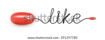 A red computer mouse and the word like formed by the cable - stock photo