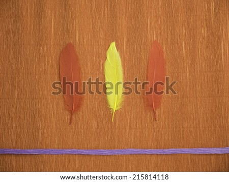 A red crepe paper background with 1 blue line at the bottom and 3 feathers in the middle laying vertically  - stock photo