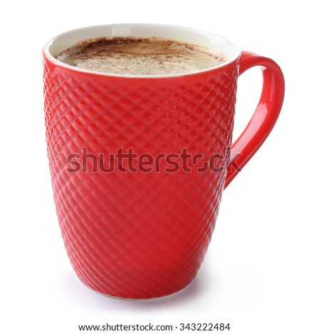 A red cup of cocoa, isolated on white - stock photo