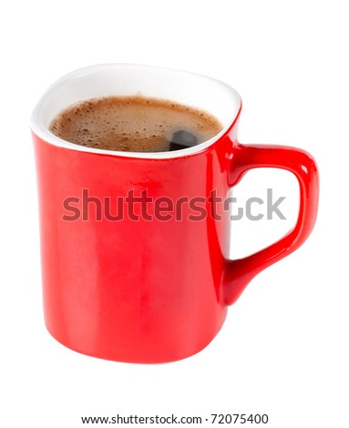 A red cup of coffee isolated over white background - stock photo
