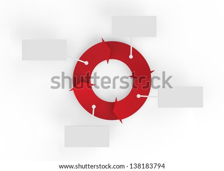 A red cycle of arrows with four blank signs for making business infographics.
