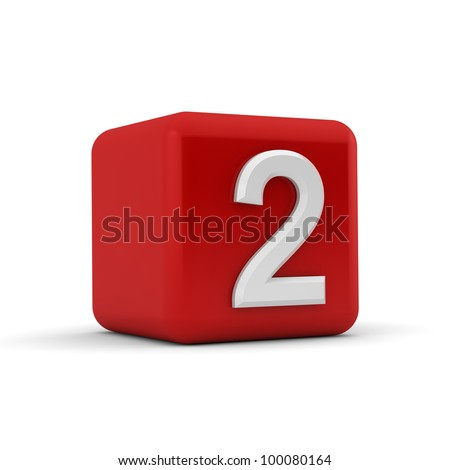 A red 3D block with white number two - stock photo