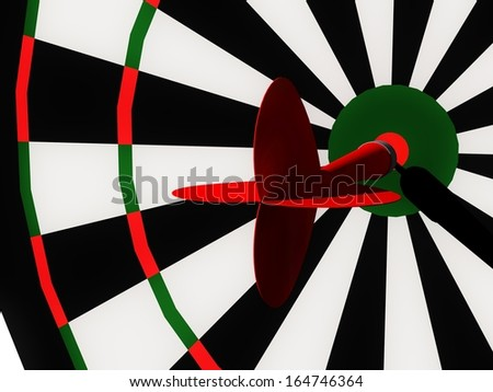 A red dart sticked in the centre of a dartboard