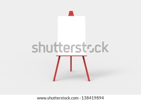 A red easel with a blank white canvas on it. Perfect for pasting artwork, notices or commercial adds.