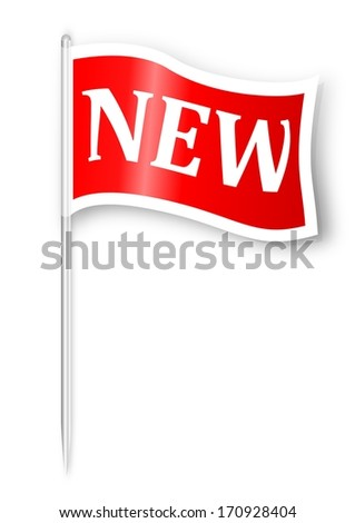 A red flag with the word new - illustration