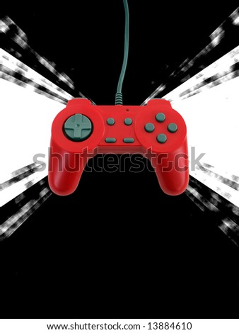 A red game controller isolated over white with plenty of copy space.  This file includes the clipping path. - stock photo