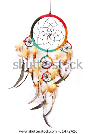 A red,green and black dreamcatcher isolated in white. - stock photo