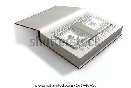 A red hardback book with a cutaway area in the pages concealing a stack of one hundred US dollar bills on an isolated background - stock photo