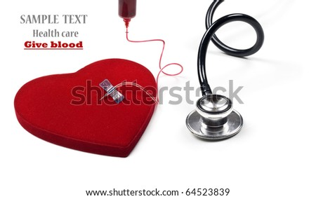 a Red heart being given blood on a pure white background with space for text