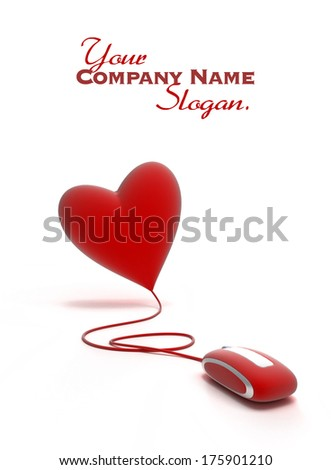A red heart connected to a red mouse  - stock photo