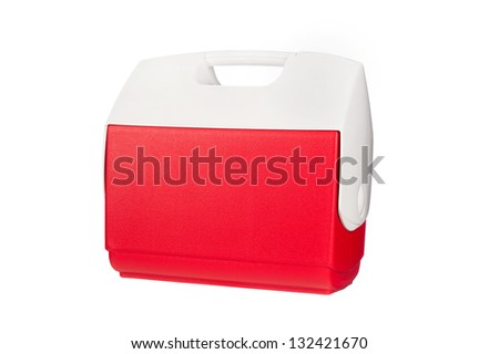 A red ice chest cooler isolated on a white background - stock photo