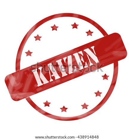 A red ink weathered roughed up circle and stars stamp design with the word Kaizen on it making a great concept. - stock photo