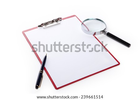 A red leather clipboard with a4 paper and fountain pen and reading glass(magnifying glass[lens], magnifier) isolated white at the studio. - stock photo