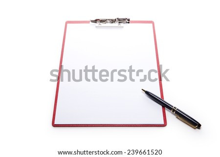 A red leather clipboard with a4 paper and fountain pen isolated white at the studio.