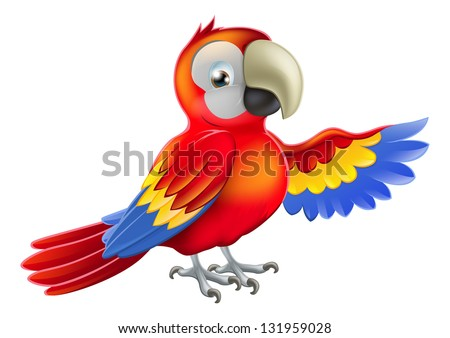 A red macaw parrot pointing or showing something with his wing - stock photo