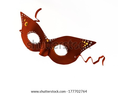 A red mask decorated with pearls and rhinestones.  - stock photo