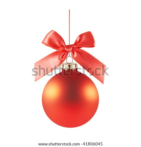 a red matted glass christmas ornament handing from a red bow and ribbon (isolated on a white background)