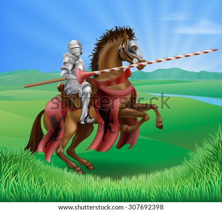 A red medieval knight in armor riding on horseback on a brown horse holding a jousting lance in green field of grass - stock photo